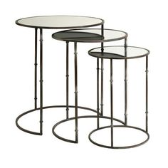 Flouressa Mirror Top Nesting Tables Set Of Three Imax Nesting Accent Tables Living Room