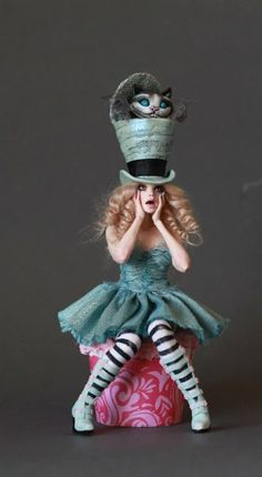Alice & The Cheshire Cat by NICOLE WEST | Polymer Clay Planet...... I think this would be a cute set for an older child the hat with the cat can be paper mache