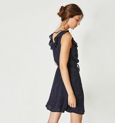 Crossover-neckline dress navy blue print - Promod
