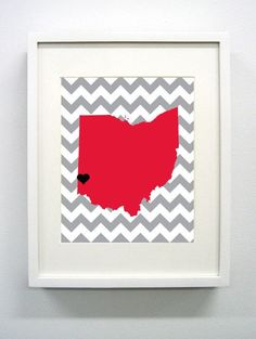 Items similar to Granville, Ohio State Giclée Map Art Print - - Red and Gray University Map Art - Graduation Gift Idea - Dorm Decor on Etsy Granville Ohio, Ohio Map, University Of Miami, State University, College Graduation Gifts, College Dorm Decorations, Oxford, Framed Prints, Art Prints
