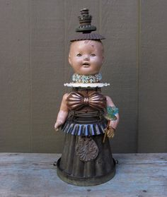 Mixed Media Assemblage Art Doll / Steampunk Sculpture / Queen Uma. $345.00, via Etsy.