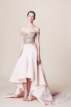 Pretty in Pink Off the Shoulder Sequenced and Beaded Bodice Evening Gown by Marchesa Resort 2017 Fashion Show Collection