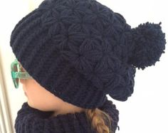 star puff stitch slouchy hat pattern by FullaBeanies on Etsy