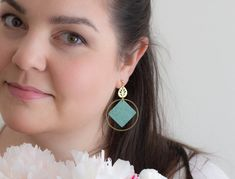 This unique handmade earrings ensures to make your outfit stunning. These are made from ultra light polymer clay, that won't weigh you down. Pink Earrings, Stone Earrings, Statement Earrings, Dangle Earrings, Boho Fashion Summer, Travel Jewelry, Powder Pink, Minimalist Earrings, Beautiful Gift Boxes