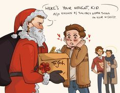 Team Free Will wants to make Jack's first Christmas magical. Dean is very bad at rock-paper-scissors. Supernatural Fan Art, Castiel, Decimo Doctor, Claire Novak, Superwholock, Teen Wolf, Harry Potter, Marvel, Sherlock
