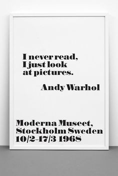 Andy Warhol Quote Print I never read I just look at by ILKADesign