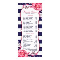 A Navy And Coral Salon And Spa Menu Of Services Rackcard Template.  Featuring A Blue And White Stripe Design With A Pre Filled Price List And  Peonies.