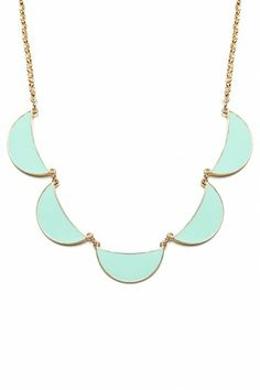 Shop Sosie Linked Crescent Necklace in Mint