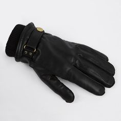 Paul Smith Men's Gloves. Black Leather Ribbed Cuff Gloves