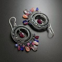 SUMMER TIME - boho hoop earrings, silver jewellery, summer jewelry, wire wrapping earrings, dangle earrings