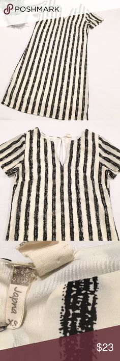 Japna Striped Dress Black and Ivory vertical striped short-sleeved dress by Japna.  V-neck and long key-hole back.  Size XS.  Excellent condition! Japna Dresses Midi