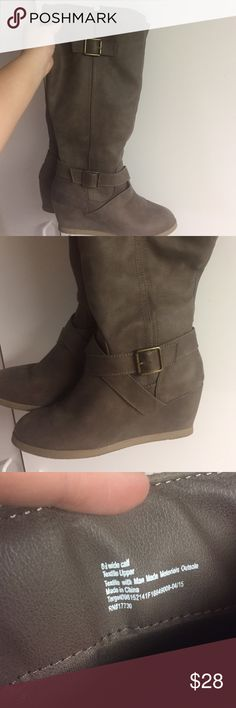Wedge boots Target brand wedge boots. Size 8 1/2, wide calf. Brown/taupe color. Comfy. Great condition. Only worn a few times. Shoes Heeled Boots