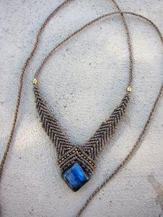 macrame necklace with labradorite
