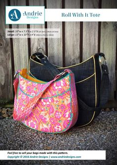 Roll With It Tote - Andrie Designs  Small or large tote bag with recessed zipper closure  Paper and PDF bag patterns