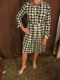 CALVIN KLEIN Women's DRESS Shirt L/S Pleated Belt Houndstooth Black White NEW 6