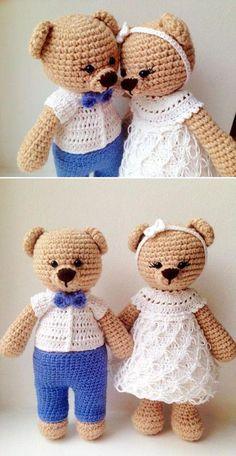 Mesmerizing Crochet an Amigurumi Rabbit Ideas. Lovely Crochet an Amigurumi Rabbit Ideas. Baby Knitting Patterns, Knitting Toys Easy, Crochet Patterns Amigurumi, Baby Patterns, Crochet Animal Amigurumi, Crochet Teddy, Crochet Bear, Cute Crochet, Amigurumi Doll