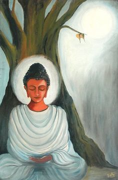 """A healthy mind does not speak ill of others."" Artist: - Sujata Singh Title: 'The Glowing Buddha' lis Buddha Kunst, Buddha Art, Gautama Buddha, Buddha Background, Buddha Painting, Painting Canvas, Silk Painting, Bodhi Tree, Indian Art Paintings"