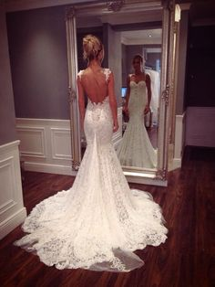 Beautiful backless, lace wedding dress