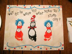 Dr. Suess footprint crafts for kids - cat in the hat & thing 1 and thing 2