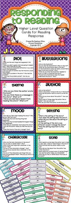 Reading Response Questions Cards.... great for whole group questions and reading response... plot, author, setting, mood, character, and more!  $  Great to have on hand every day!