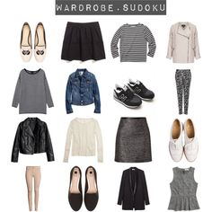 Wardrobe sudoku by pearlsandstars on Polyvore featuring Madewell, Monki, H&M, Topshop, Helmut Lang, Emilio Pucci, New Balance, Pull&Bear, Crockett & Jones and Zara