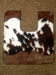 ༻⚜༺ ❤️ ༻⚜༺ COWHIDE AND LEATHER BATH TOILET CONTOUR MAT | Western Decor // By Signature Cowboy ༻⚜༺ ❤️ ༻⚜༺