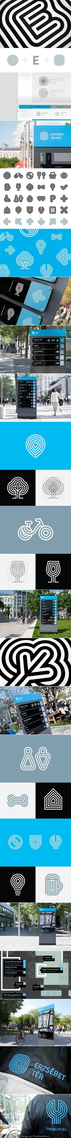 ERZSÉBET SQUARE IDENTITY   Identity design and wayfinding system for Erzsébet Square, one of the most attractive touristic and recreational zones of Budapest's inner city.