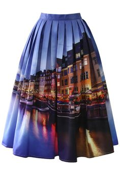 Chicwish River Print Pleated Midi Skirt