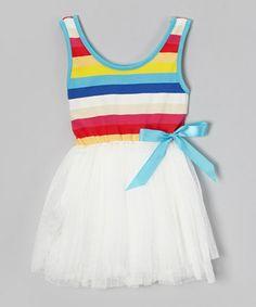 Look what I found on #zulily! White Rainbow Stripe Tutu Dress - Toddler & Girls #zulilyfinds