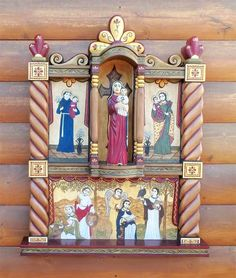 Roxanne and Catherine's collaberative Altar Colonial Art, Spanish Colonial, New Mexico, Advent Calendar, Medieval, Popular, Traditional, Holiday Decor, Saints