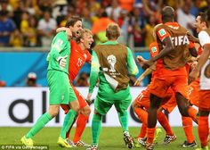 Bold: Louis van Gaal decided to bring Krul on towards the end of extra-time just for the p...