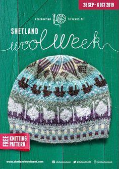 purple pink; Fair Isle style Handknit woolen hat  tam with modern geometric motifs and a beautiful crown in black