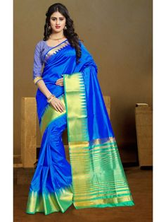 536a6b3146ed6 Noble Shaded Royal Blue Silk saree Work -Zari Weaving Fabric -Cotton Silk  Paired with the matching blouse piece.