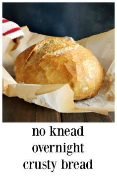 """No-Knead Overnight Crusty Bread: It couldn't be easier or more """"hands-off."""" 5 minutes to mix up, toss in the oven the next day. You'll look like a genius! #CrustyBread #ArtisanBread #NoKneadBread #BreadRecipesHomemade #HomemadeRecipes  #EasyBread #BreadBaking #Bread"""