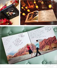 Engagement Guest Book  Engagement guestbooks are impressive considering that it lets you show off lots of the engagement session photos, while giving yet another kind of guest book to sign at the wedding reception. Spaces inside the guest book enable wedding guests to jot down sweet advice and best wishes for the couple while displaying the best photos from your engagement photo shoot.