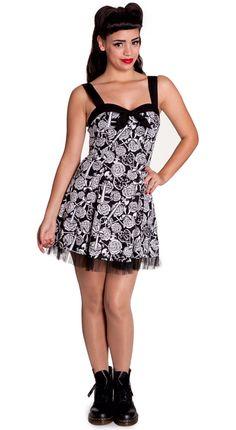 e5098b427f Hell Bunny Avalon Dress Black   White. Love this rose print dress.
