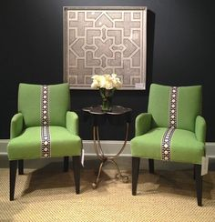 The @CR Laine Furniture Cassidy #Dining #Chair (3065) is brilliant in the grass green #fabric with black & white centered trim. 310 N. Hamilton-S201 #HPMKT