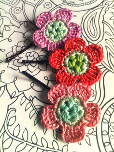 Candy Green Sparkle Crochet Daisy Hair Pins by CatWomanCrafts, $11.00