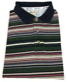 Eddie Bauer Polo Shirt Large Mens Short Sleeve Golf Striped Rugby Men Size Sz L #EddieBauer #PoloRugby