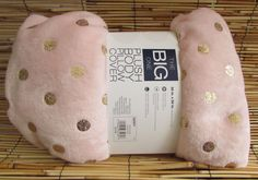 """Plush Body Pillow Cover Case Pink Gold Polka Dot Zippered 20"""" x 50"""" Washable #TheBigOne"""