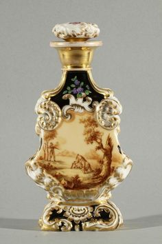 POPOV  perfume bottle, 19th c.  Gilt decoration with flowers on one side and a county scene on the other,   marked with underglazed blue Cyrillic letters 'AP' on bottom.