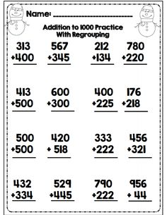 grade addition to 1000 with regrouping part of 31 pg math/ela packet common core aligned 3rd Grade Math Worksheets, Addition Worksheets, Subtraction Worksheets, Math Addition, Math Resources, Math Activities, Math School, Fourth Grade Math, Math Classroom