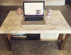 IKEA Hack: DIY Faux Marble Top Coffee Table