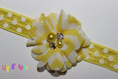 Yellow Chevron Pearl by LilyNRoseHeadbands, Yellow Chevron, Baby Headbands, Pearls, Stuff To Buy, Accessories, Beading, Beads, Kids Headbands, Pearl Beads