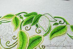 Long & Short Stitch Leaves on Secret Garden Project