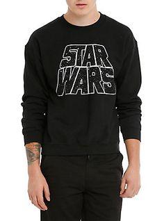 Star Wars Logo Crew Pullover, NEGRO