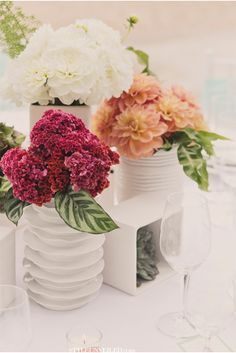 white vases and fall colors via StyleUnveiled.com / Alante Photography / Seattle Wedding / Inspiration Using Circles and Squares