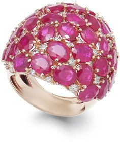 Macy's us Ruby (18 Ct. T.w.) And Diamond (9/10 Ct. T.w.) Dome Ring In 14k Rose Gold in Pink (Rose Gold)