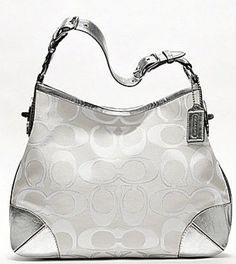 Coach Peyton Signature Sateen Metallic Shoulder Bag- White and Silver 19758, http://www.amazon.com/dp/B00EC0VVZM/ref=cm_sw_r_pi_awd_J9tksb1DC9Q3Q