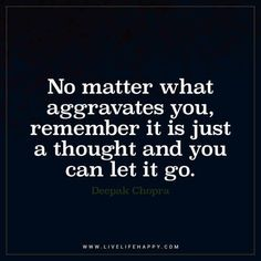 No Matter What Aggravates You, Remember It Is Just a Thought – Live Life Happy - quotesdeep Buddhist Quotes, Spiritual Quotes, Wisdom Quotes, Positive Quotes, Me Quotes, Letting Go Quotes, Go For It Quotes, Aggravated Quotes, Live Life Happy